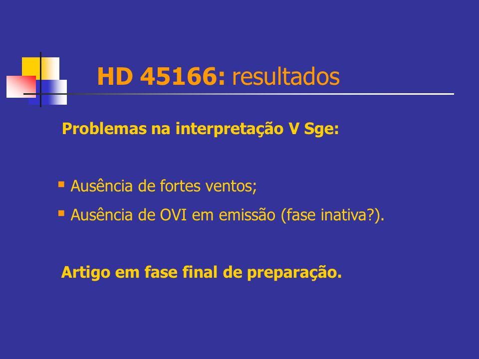 HD 45166: resultados Problemas na interpretação V Sge: Ausência de fortes ventos; Ausência de OVI em emissão (fase inativa?). Artigo em fase final de