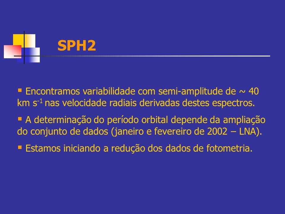 Encontramos variabilidade com semi-amplitude de ~ 40 km s -1 nas velocidade radiais derivadas destes espectros. A determinação do período orbital depe