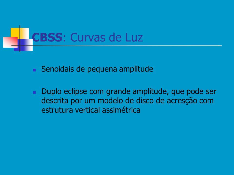 CBSS: Curvas de Luz Senoidais de pequena amplitude Duplo eclipse com grande amplitude, que pode ser descrita por um modelo de disco de acresção com es