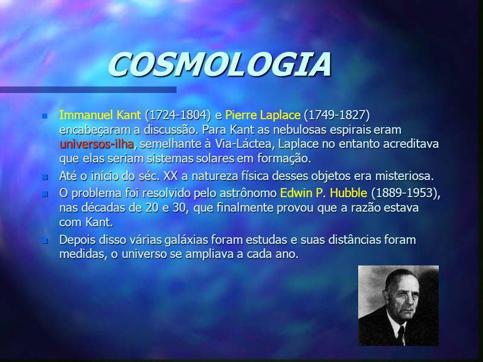 COSMOLOGIA n (1724-1804) e (1749-1827) encabeçaram a discussão. Para Kant as nebulosas espirais eram universos-ilha, semelhante à Via-Láctea, Laplace