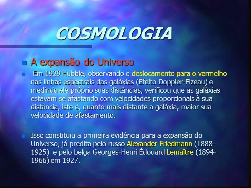 COSMOLOGIA n A expansão do Universo n Em 1929 Hubble, observando o nas linhas espectrais das galáxias (Efeito Doppler-Fizeau) e medindo ele próprio su
