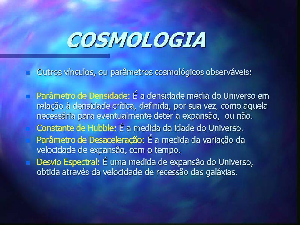 COSMOLOGIA n Outros vínculos, ou parâmetros cosmológicos observáveis: n É a densidade média do Universo em relação à densidade crítica, definida, por