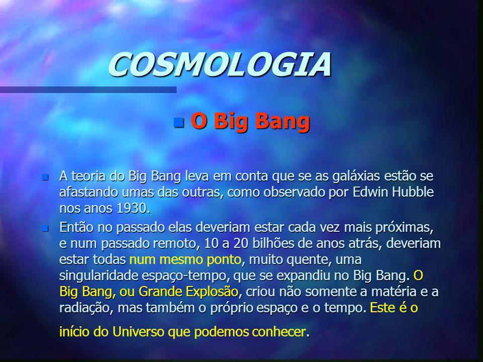 COSMOLOGIA n O Big Bang n A teoria do Big Bang leva em conta que se as galáxias estão se afastando umas das outras, como observado por Edwin Hubble no