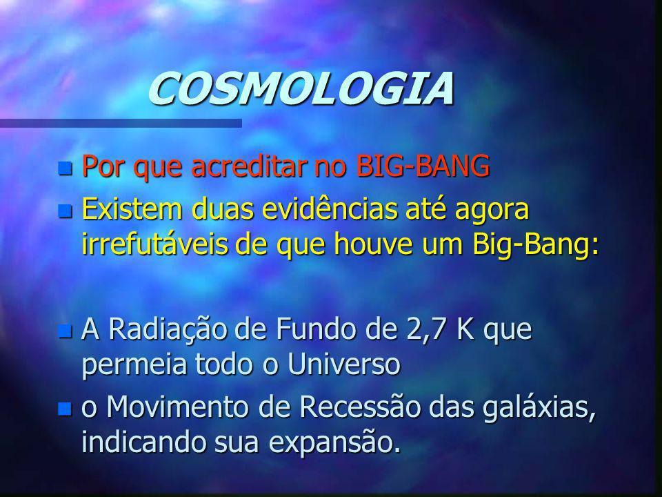 COSMOLOGIA n Por que acreditar no BIG-BANG n Existem duas evidências até agora irrefutáveis de que houve um Big-Bang: n A Radiação de Fundo de 2,7 K q