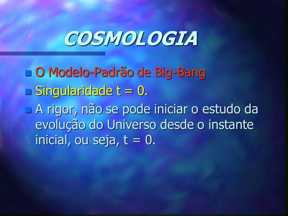 COSMOLOGIA n O Modelo-Padrão de Big-Bang n Singularidade t = 0. n A rigor, não se pode iniciar o estudo da evolução do Universo desde o instante inici
