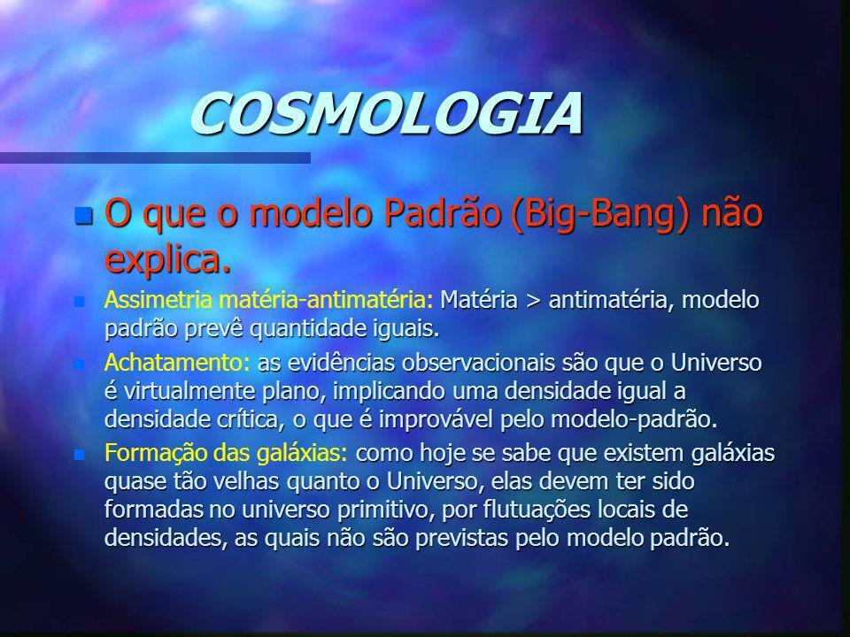 COSMOLOGIA n O que o modelo Padrão (Big-Bang) não explica. n Matéria > antimatéria, modelo padrão prevê quantidade iguais. n Assimetria matéria-antima