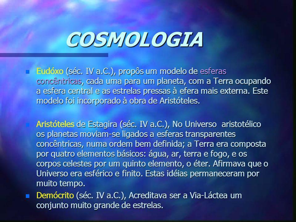 COSMOLOGIA n (séc. IV a.C.), propôs um modelo de esferas concêntricas, cada uma para um planeta, com a Terra ocupando a esfera central e as estrelas p