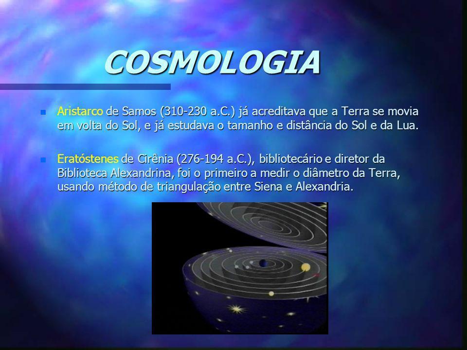 COSMOLOGIA n de Samos (310-230 a.C.) já acreditava que a Terra se movia em volta do Sol, e já estudava o tamanho e distância do Sol e da Lua. n Arista