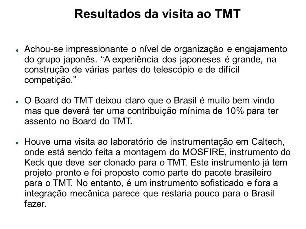 Resultados da visita ao TMT Achou-se impressionante o nível de organização e engajamento do grupo japonês.