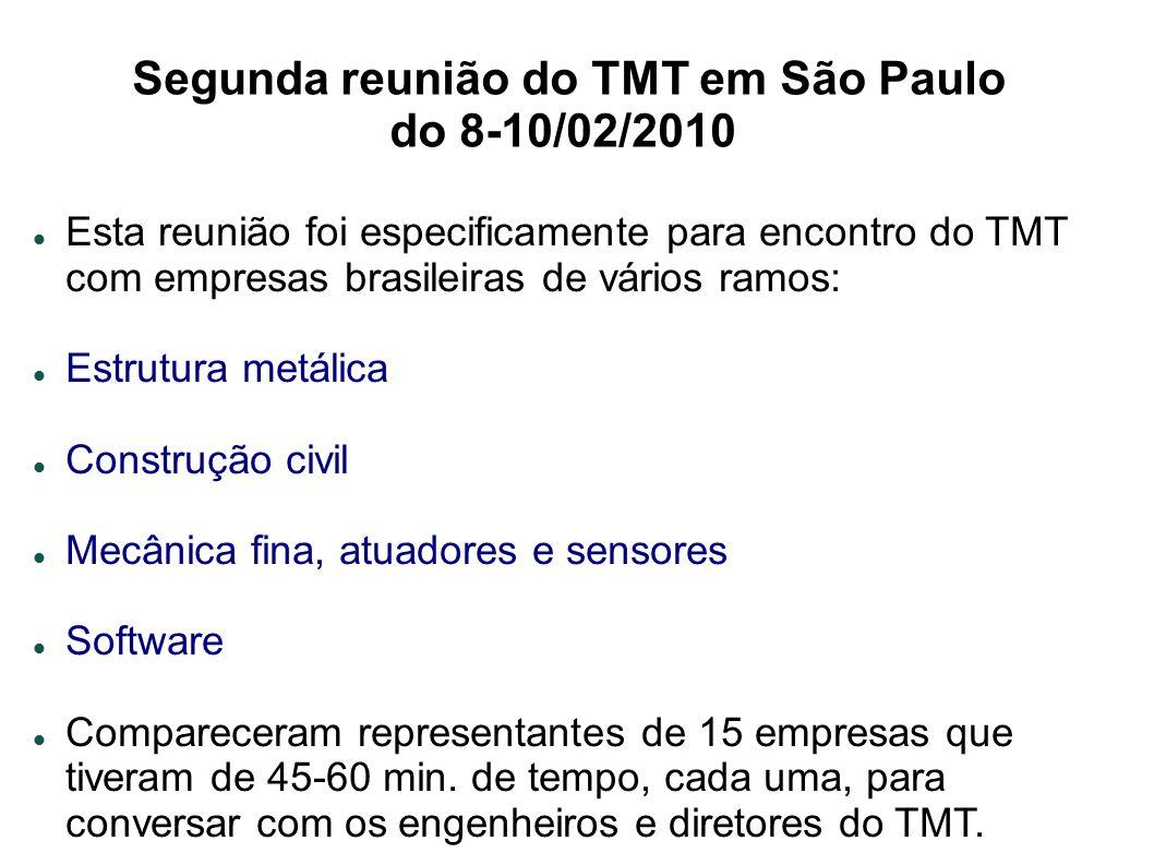 Segunda reunião do TMT em São Paulo do 8-10/02/2010 Esta reunião foi especificamente para encontro do TMT com empresas brasileiras de vários ramos: Estrutura metálica Construção civil Mecânica fina, atuadores e sensores Software Compareceram representantes de 15 empresas que tiveram de 45-60 min.