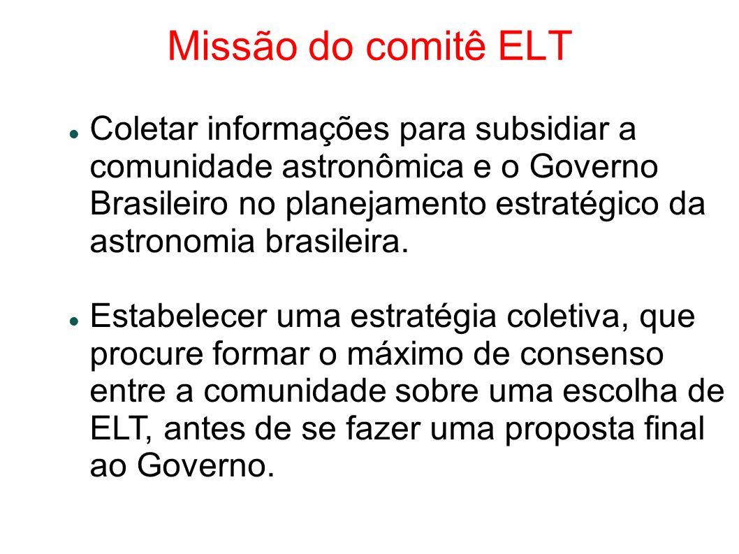 Missão do comitê ELT Coletar informações para subsidiar a comunidade astronômica e o Governo Brasileiro no planejamento estratégico da astronomia brasileira.
