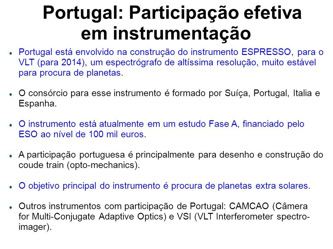 Portugal: Participação efetiva em instrumentação Portugal está envolvido na construção do instrumento ESPRESSO, para o VLT (para 2014), um espectrógrafo de altíssima resolução, muito estável para procura de planetas.