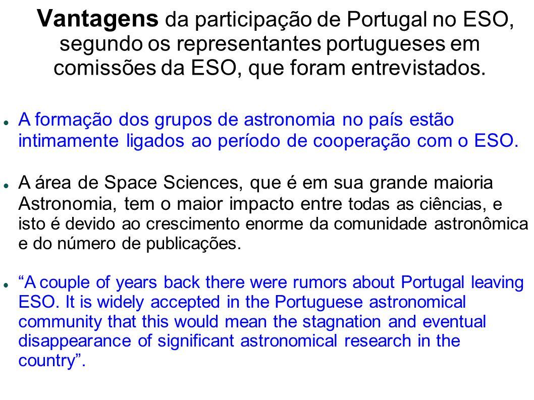 Vantagens da participação de Portugal no ESO, segundo os representantes portugueses em comissões da ESO, que foram entrevistados.