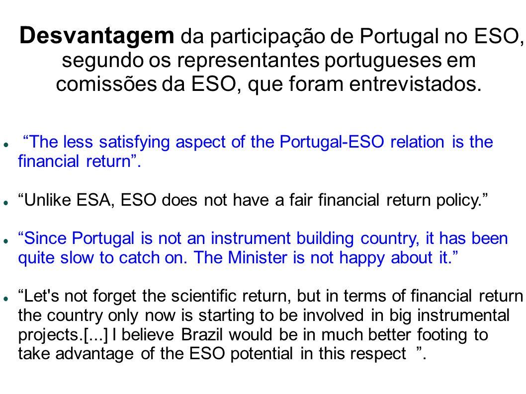 Desvantagem da participação de Portugal no ESO, segundo os representantes portugueses em comissões da ESO, que foram entrevistados.