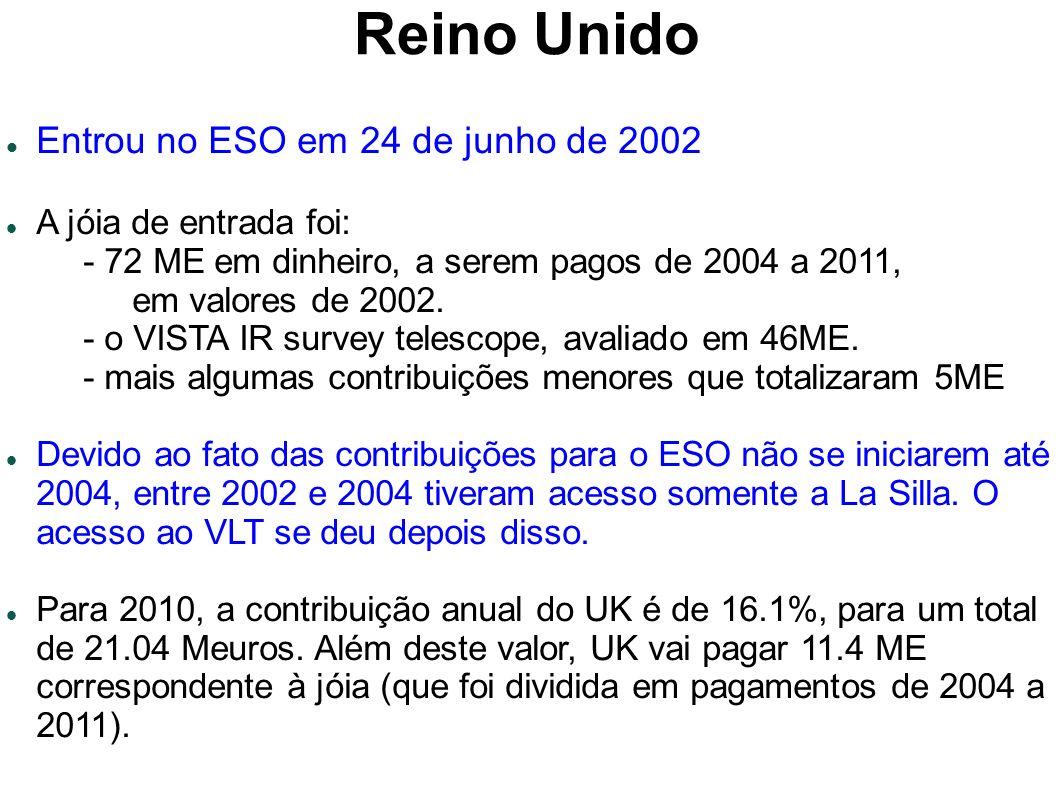 Reino Unido Entrou no ESO em 24 de junho de 2002 A jóia de entrada foi: - 72 ME em dinheiro, a serem pagos de 2004 a 2011, em valores de 2002.