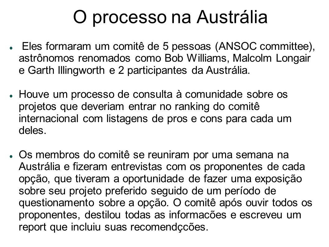 O processo na Austrália Eles formaram um comitê de 5 pessoas (ANSOC committee), astrônomos renomados como Bob Williams, Malcolm Longair e Garth Illingworth e 2 participantes da Austrália.