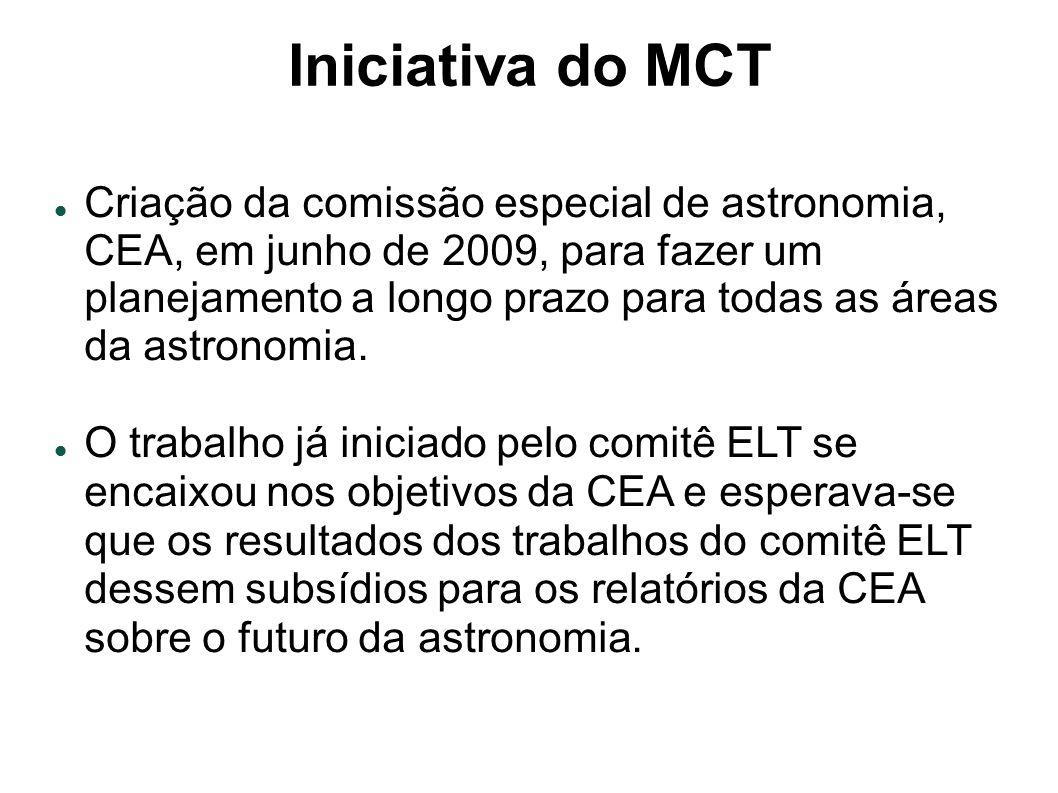 Iniciativa do MCT Criação da comissão especial de astronomia, CEA, em junho de 2009, para fazer um planejamento a longo prazo para todas as áreas da astronomia.
