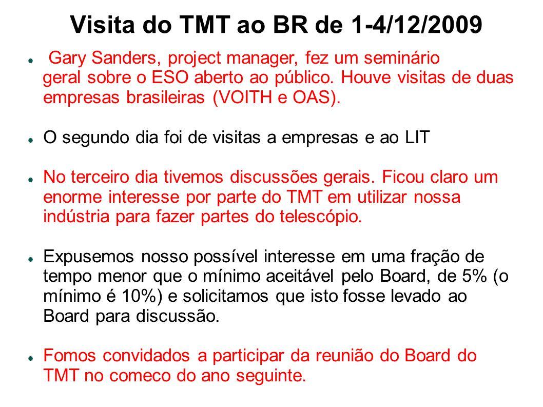 Visita do TMT ao BR de 1-4/12/2009 Gary Sanders, project manager, fez um seminário geral sobre o ESO aberto ao público.