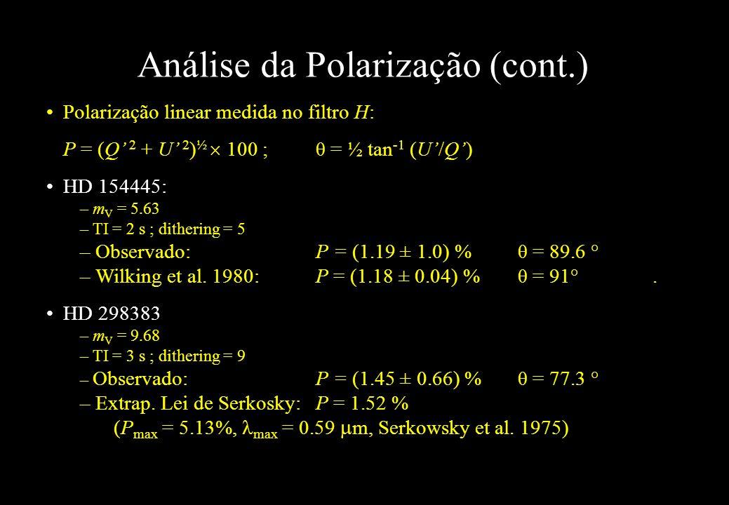 Análise da Polarização (cont.) Polarização linear medida no filtro H: P = (Q 2 + U 2 ) ½ 100 ; θ = ½ tan -1 (U/Q) HD 154445: – m V = 5.63 – TI = 2 s ;