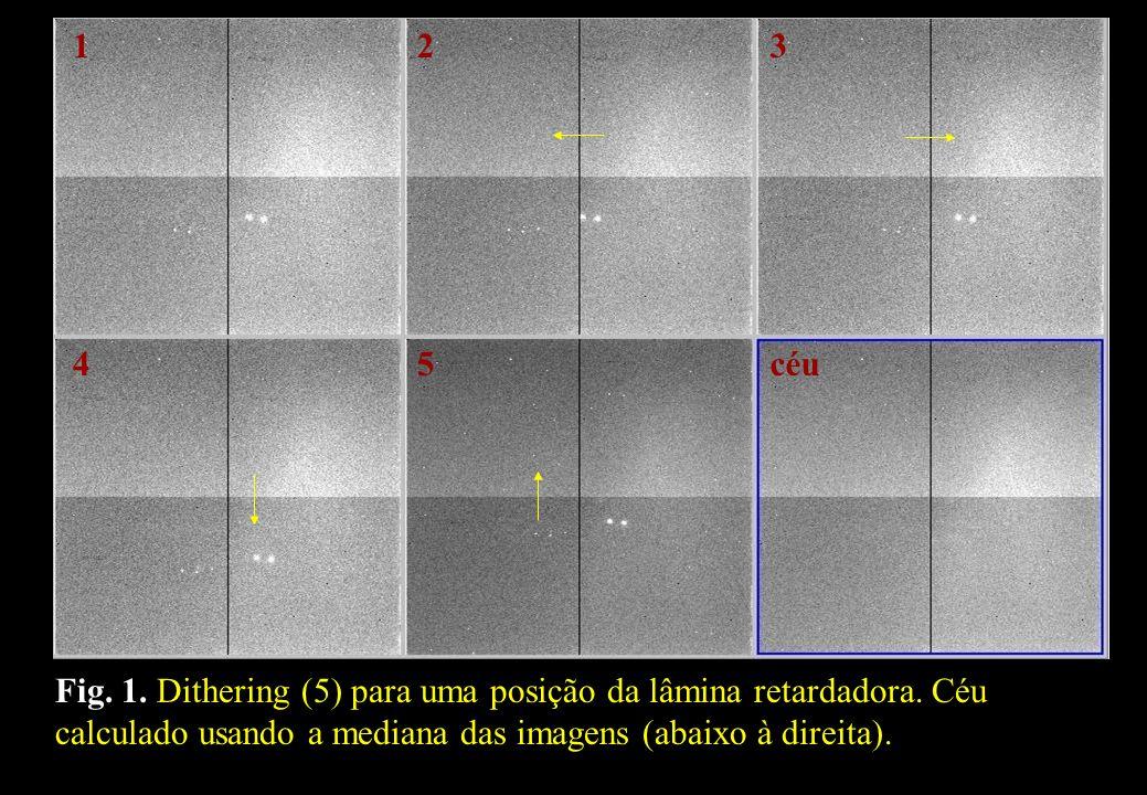 Fig. 1. Dithering (5) para uma posição da lâmina retardadora. Céu calculado usando a mediana das imagens (abaixo à direita). céu 123 54