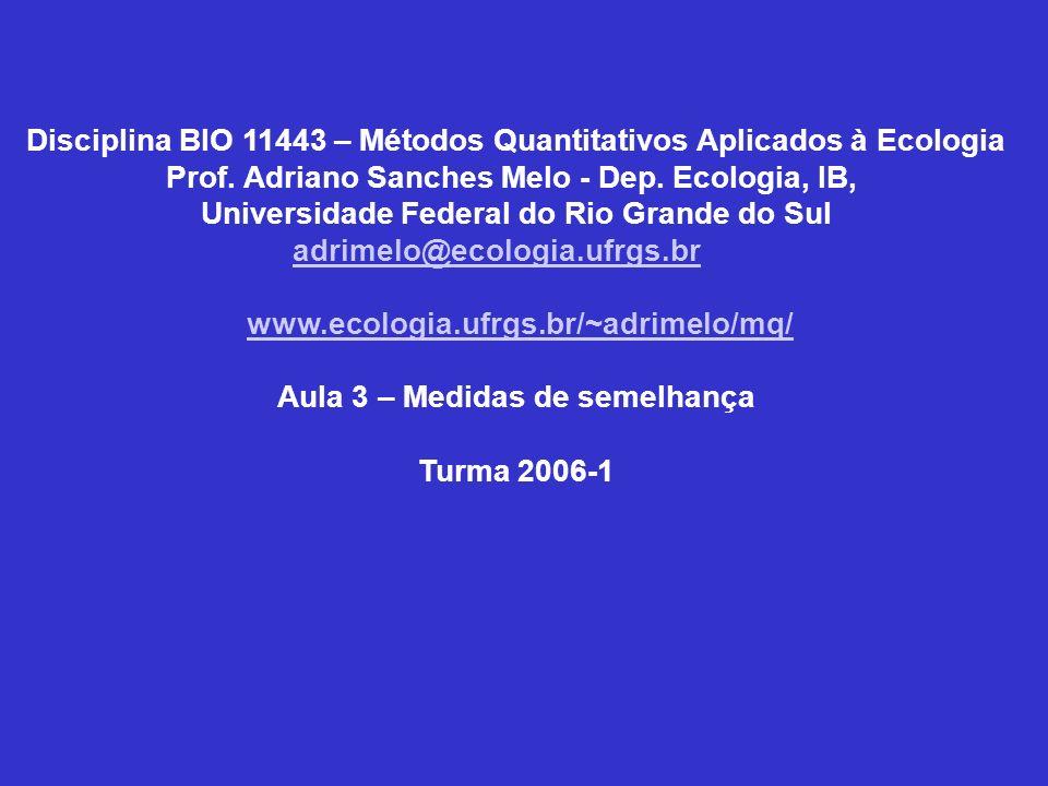Disciplina BIO 11443 – Métodos Quantitativos Aplicados à Ecologia Prof. Adriano Sanches Melo - Dep. Ecologia, IB, Universidade Federal do Rio Grande d