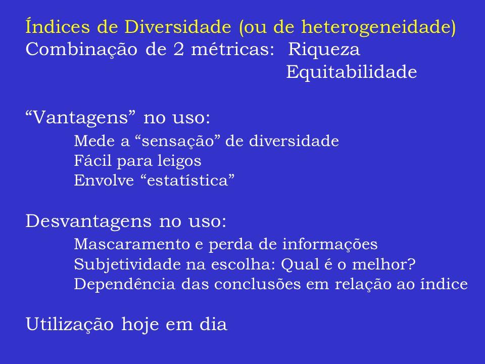 Índices de Diversidade (ou de heterogeneidade) Combinação de 2 métricas: Riqueza Equitabilidade Vantagens no uso: Mede a sensação de diversidade Fácil