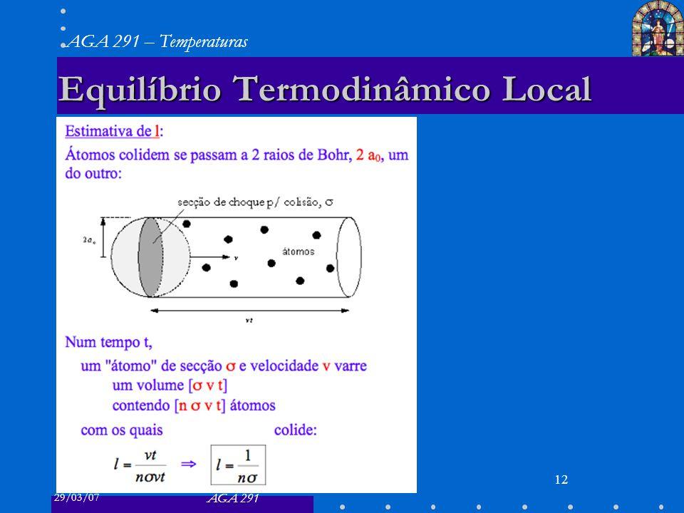 29/03/07 AGA 291 AGA 291 – Temperaturas 12 Equilíbrio Termodinâmico Local