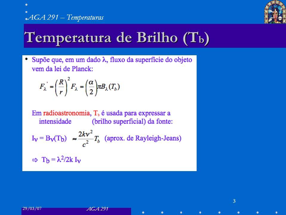 29/03/07 AGA 291 AGA 291 – Temperaturas 3 Temperatura de Brilho (T b )