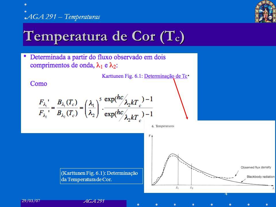 29/03/07 AGA 291 AGA 291 – Temperaturas 4 Temperatura de Cor (T c ) (Karttunen Fig. 6.1): Determinação da Temperatura de Cor.