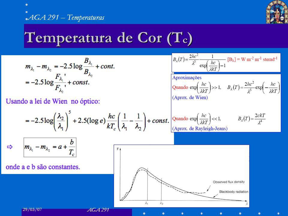 29/03/07 AGA 291 AGA 291 – Temperaturas 5 Temperatura de Cor (T c )