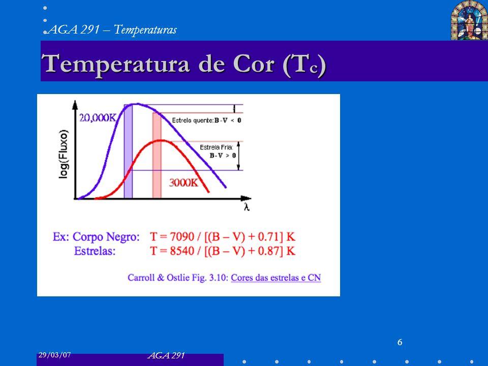 29/03/07 AGA 291 AGA 291 – Temperaturas 6 Temperatura de Cor (T c )