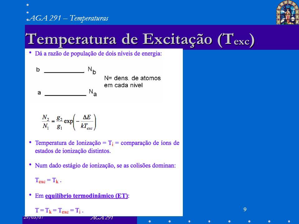 29/03/07 AGA 291 AGA 291 – Temperaturas 9 Temperatura de Excitação (T exc )