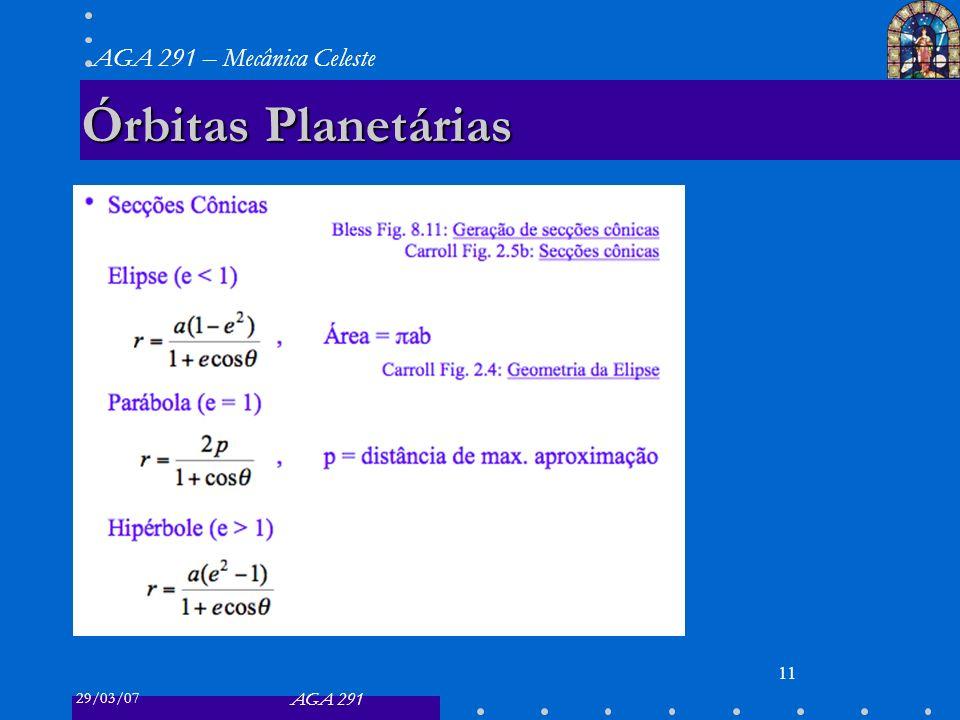 29/03/07 AGA 291 AGA 291 – Mecânica Celeste 11 Órbitas Planetárias