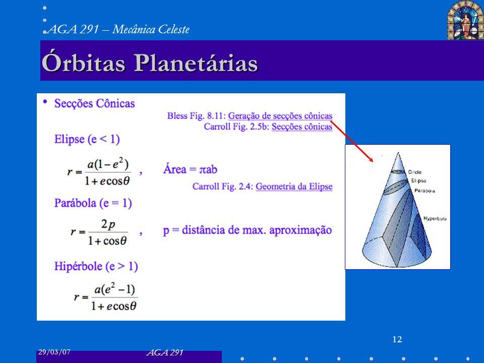 29/03/07 AGA 291 AGA 291 – Mecânica Celeste 12 Órbitas Planetárias