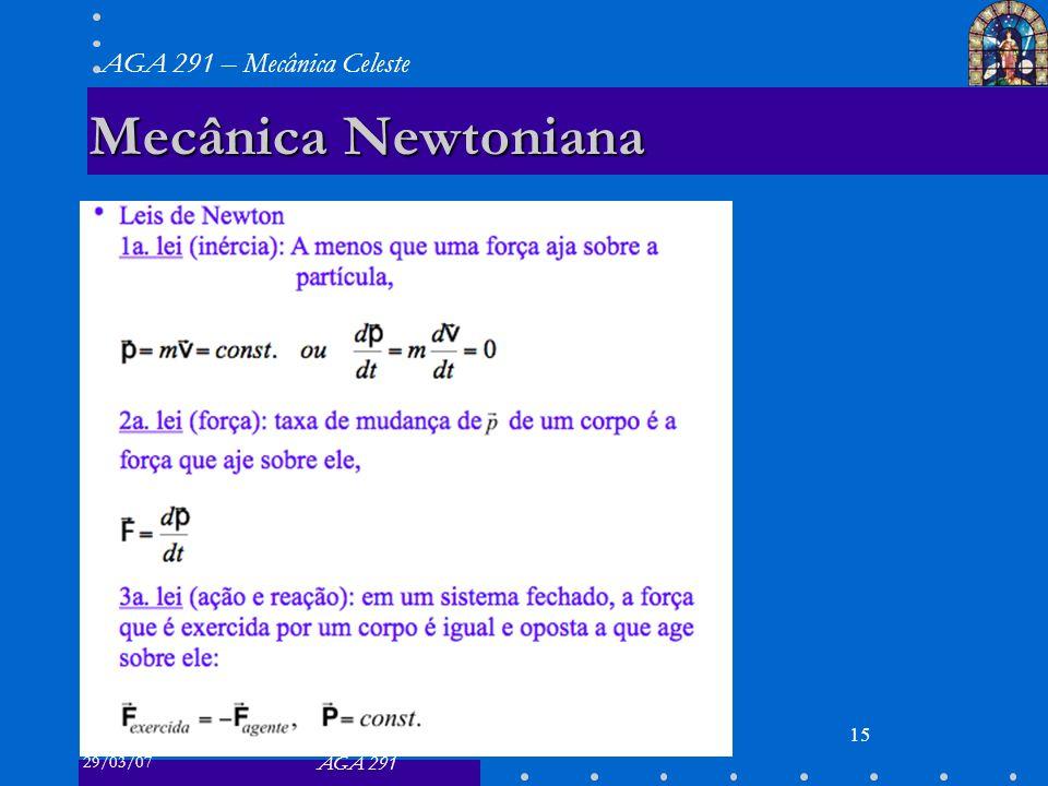 29/03/07 AGA 291 AGA 291 – Mecânica Celeste 15 Mecânica Newtoniana