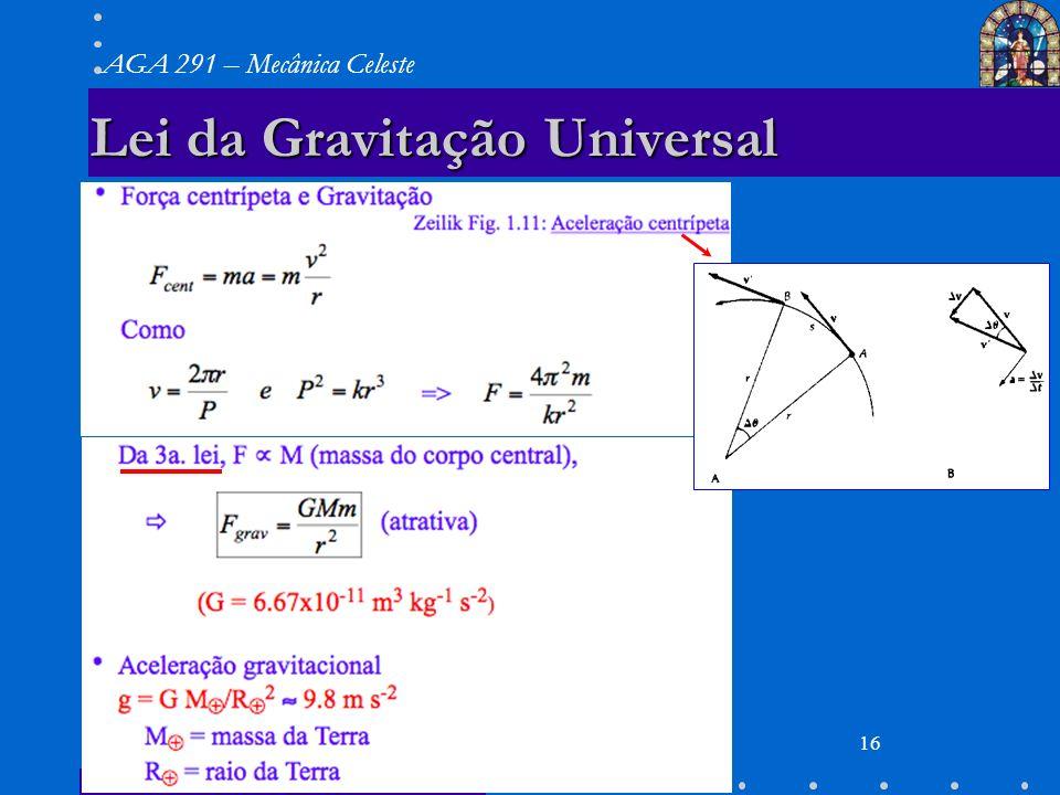 29/03/07 AGA 291 AGA 291 – Mecânica Celeste 16 Lei da Gravitação Universal