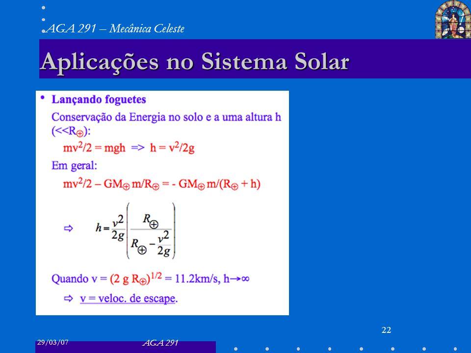 29/03/07 AGA 291 AGA 291 – Mecânica Celeste 22 Aplicações no Sistema Solar