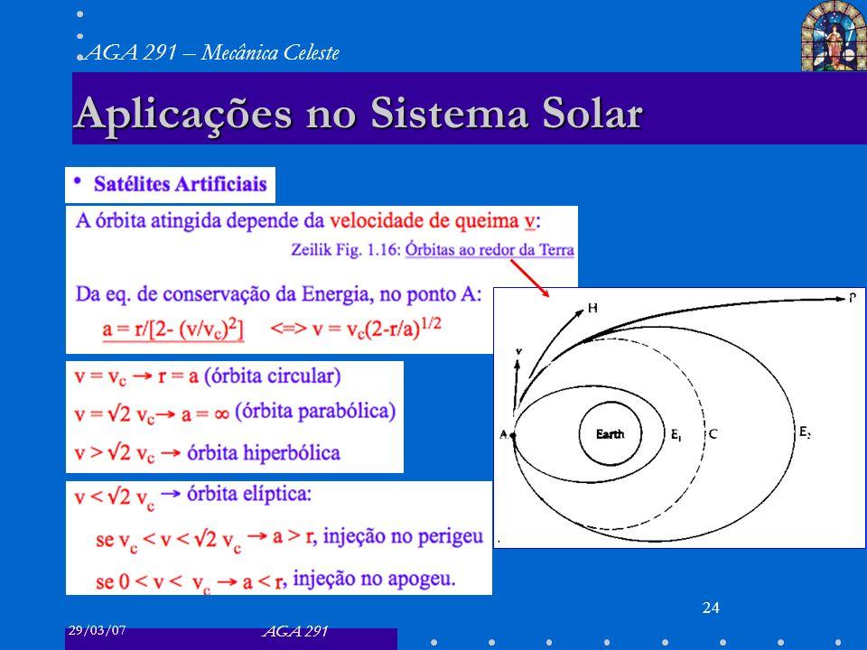 29/03/07 AGA 291 AGA 291 – Mecânica Celeste 24 Aplicações no Sistema Solar