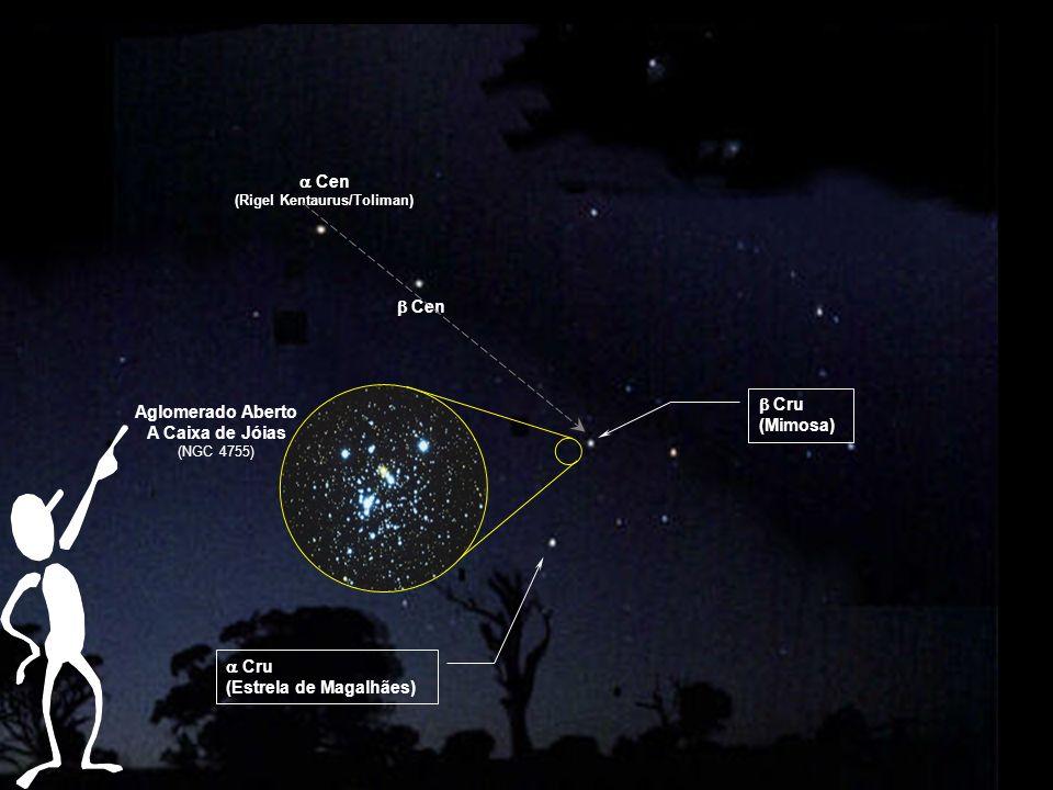 Aglomerado Aberto A Caixa de Jóias (NGC 4755) Cen (Rigel Kentaurus/Toliman) Cen Cru (Mimosa) Cru (Estrela de Magalhães)