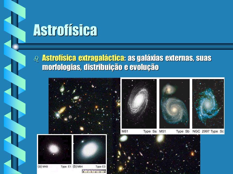 Astrofísica b Astrofísica extragaláctica: as galáxias externas, suas morfologias, distribuição e evolução