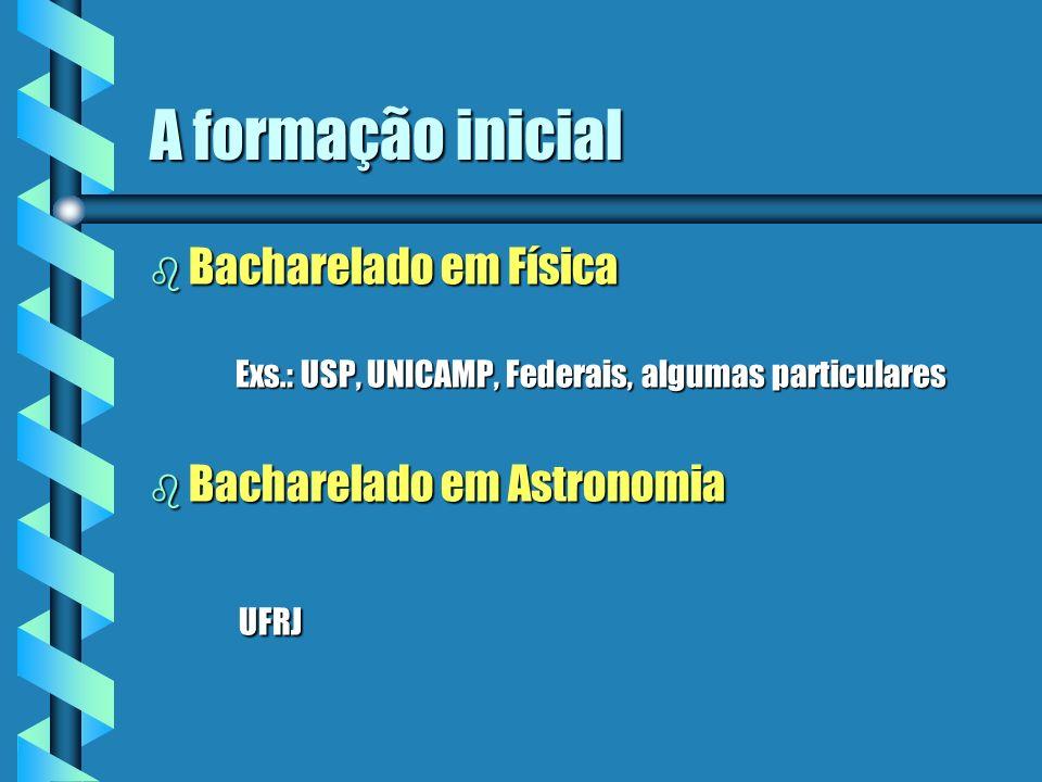 A formação inicial b Bacharelado em Física Exs.: USP, UNICAMP, Federais, algumas particulares Exs.: USP, UNICAMP, Federais, algumas particulares b Bac
