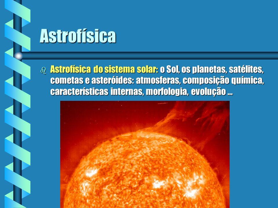 Astrofísica b Astrofísica do sistema solar: o Sol, os planetas, satélites, cometas e asteróides: atmosferas, composição química, características inter