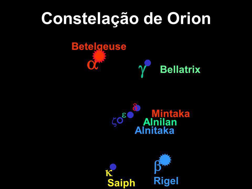 Constelação de Orion Betelgeuse Rigel Mintaka Alnilan Bellatrix Saiph Alnitaka