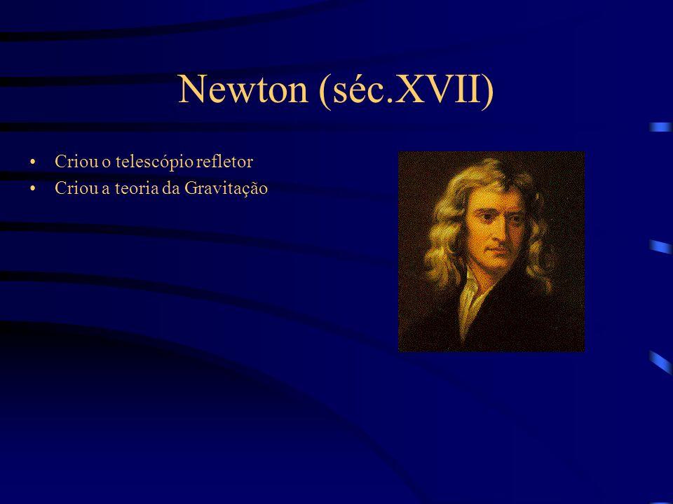 Newton (séc.XVII) Criou o telescópio refletor Criou a teoria da Gravitação