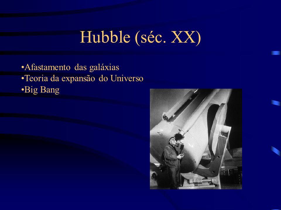 Hubble (séc. XX) Afastamento das galáxias Teoria da expansão do Universo Big Bang
