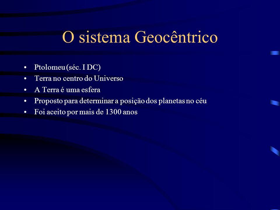 O sistema Geocêntrico Ptolomeu (séc. I DC) Terra no centro do Universo A Terra é uma esfera Proposto para determinar a posição dos planetas no céu Foi