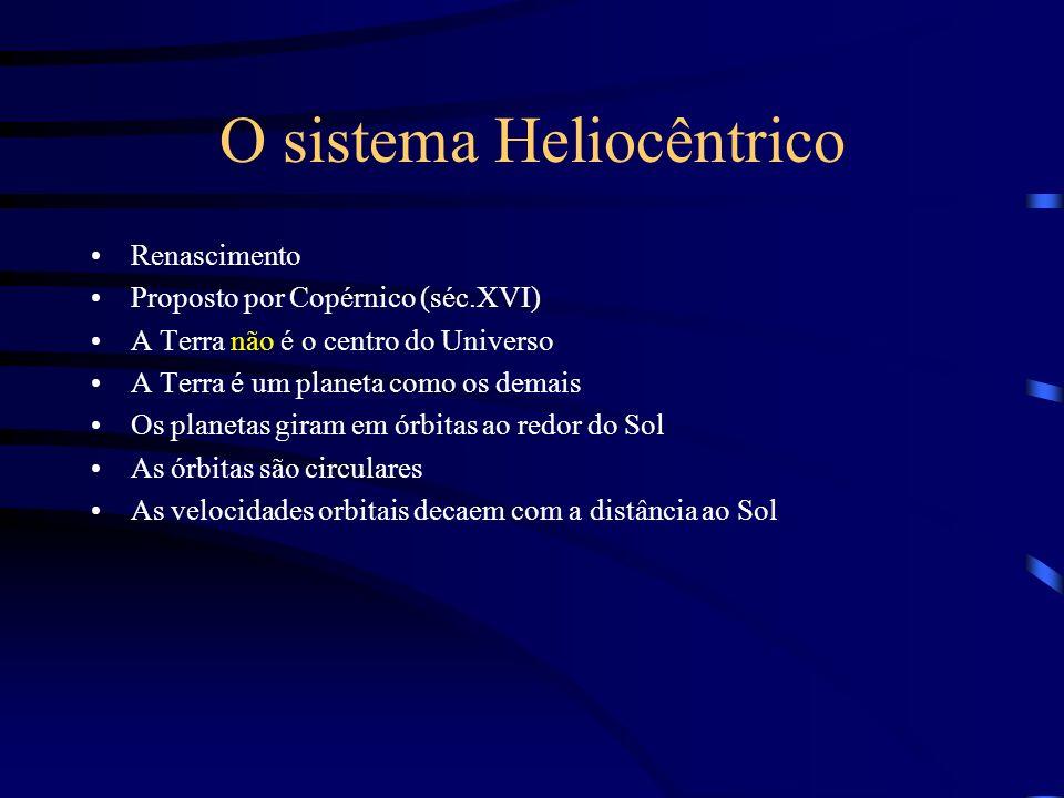 O sistema Heliocêntrico Renascimento Proposto por Copérnico (séc.XVI) A Terra não é o centro do Universo A Terra é um planeta como os demais Os planet