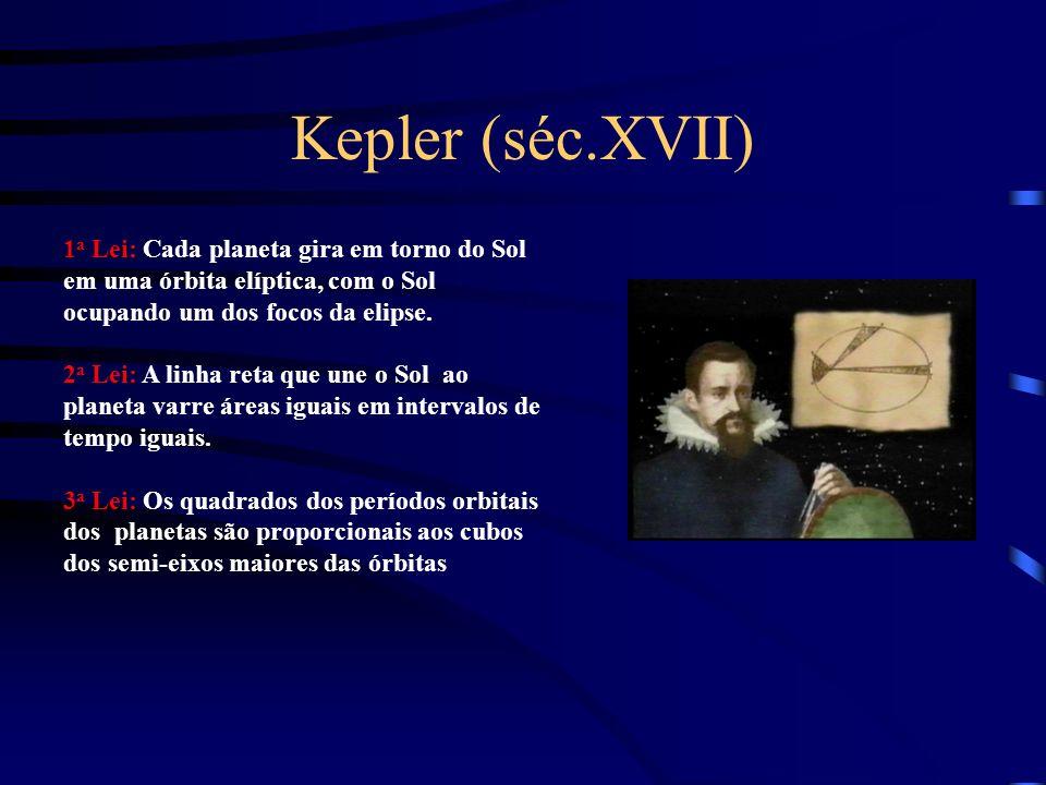 Kepler (séc.XVII) 1 a Lei: Cada planeta gira em torno do Sol em uma órbita elíptica, com o Sol ocupando um dos focos da elipse. 2 a Lei: A linha reta