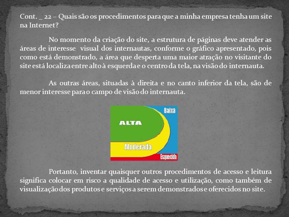 Cont. _ 22 – Quais são os procedimentos para que a minha empresa tenha um site na Internet.