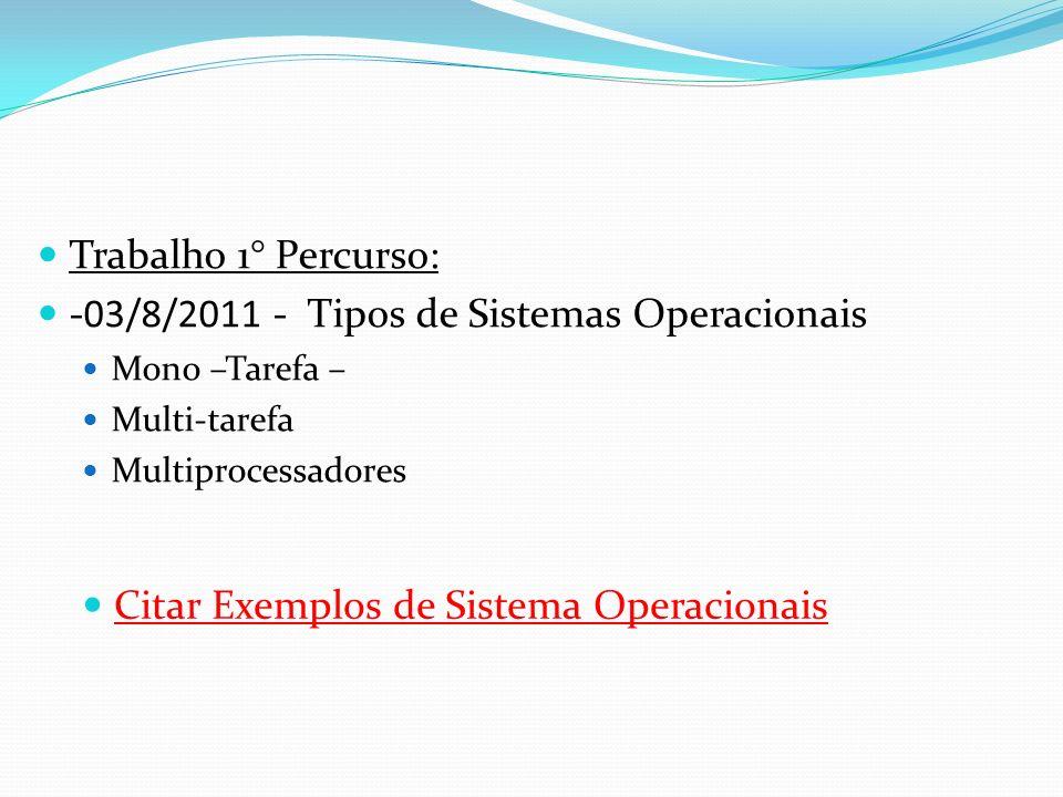 Trabalho 1° Percurso: -03/8/2011 - Tipos de Sistemas Operacionais Mono –Tarefa – Multi-tarefa Multiprocessadores Citar Exemplos de Sistema Operacionai
